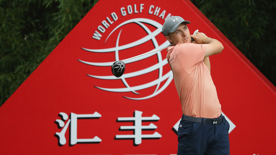 Jordan Spieth hits his tee shot on the second hole during the third round of the WGC-HSBC Champions at the Sheshan International Golf Club on Saturday, Nov. 7, 2015, in Shanghai, China.