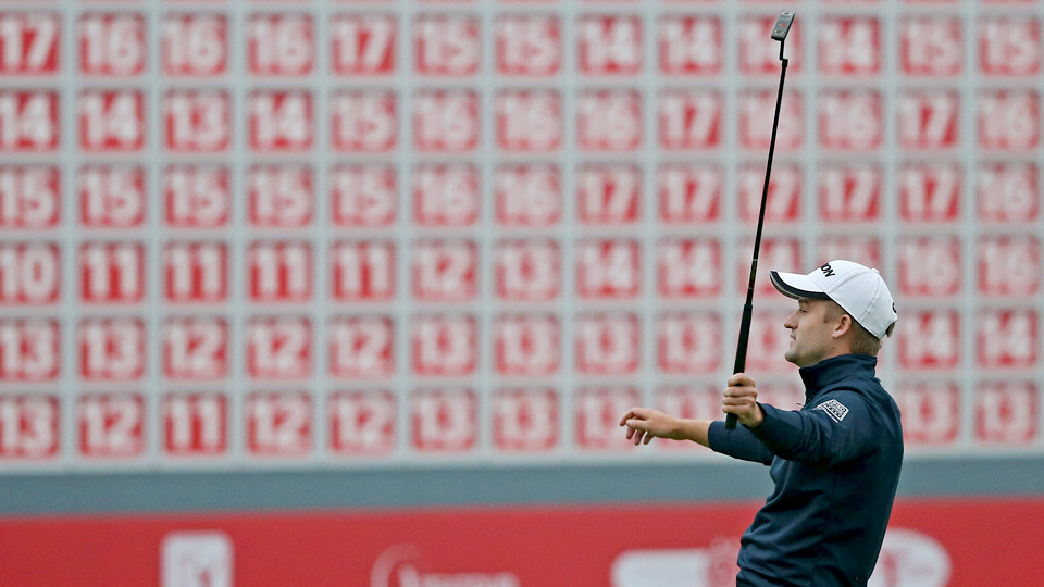Russell Knox celebrates his two-stroke victory on the 18th green after the final round of the WGC-HSBC Champions at the Sheshan International Golf Club on Sunday, Nov. 8, 2015, in Shanghai, China.