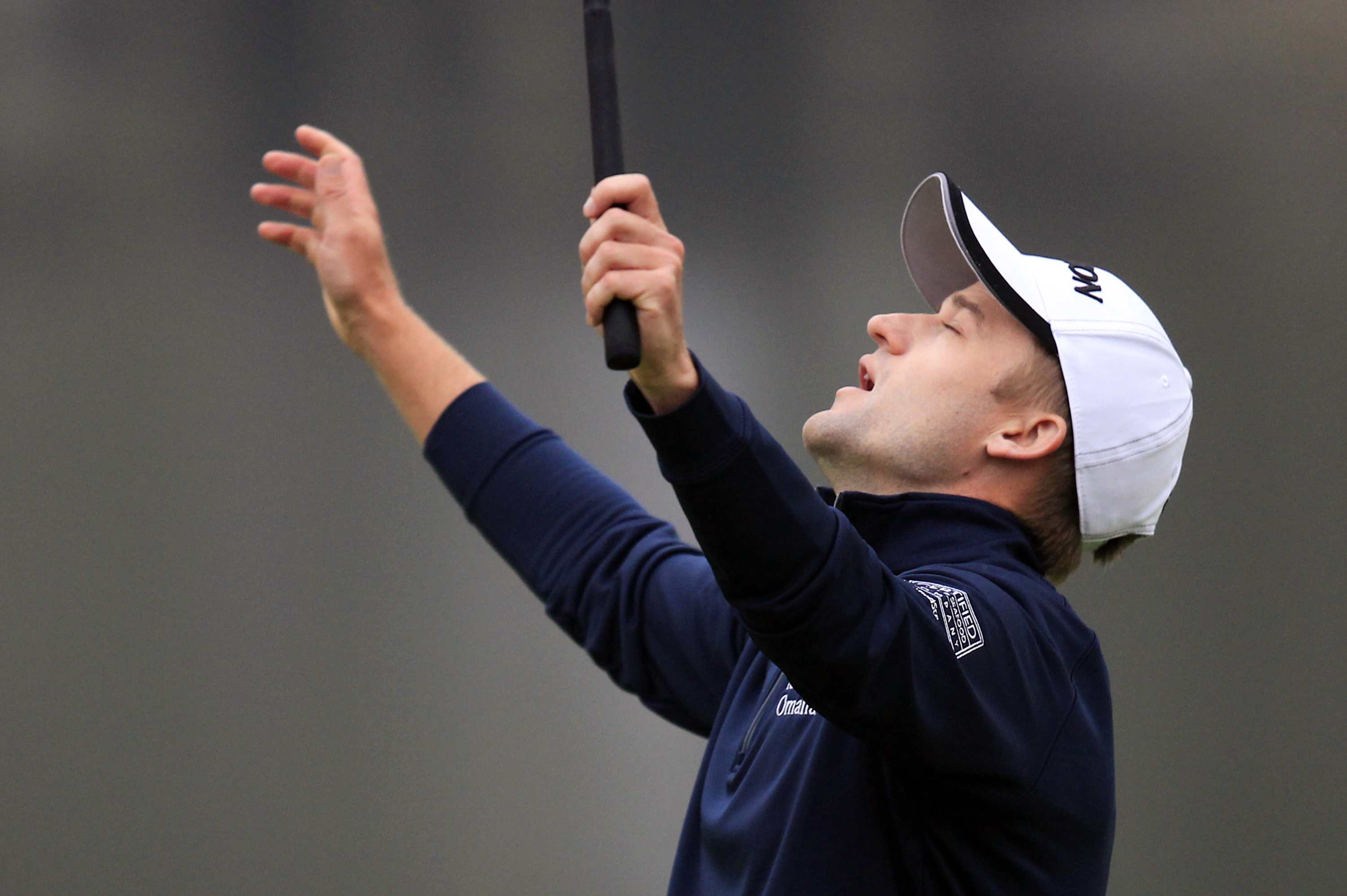 Russell Knox of Scotland celebrates on the 18th hole after the final round of the HSBC Champions golf tournament at the Sheshan International Golf Club in Shanghai, China Sunday, Nov. 8, 2015. (AP