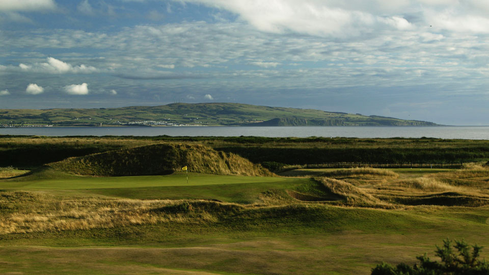 The 'Postage Stamp' par-3 8th green at Royal Troon Golf Club.