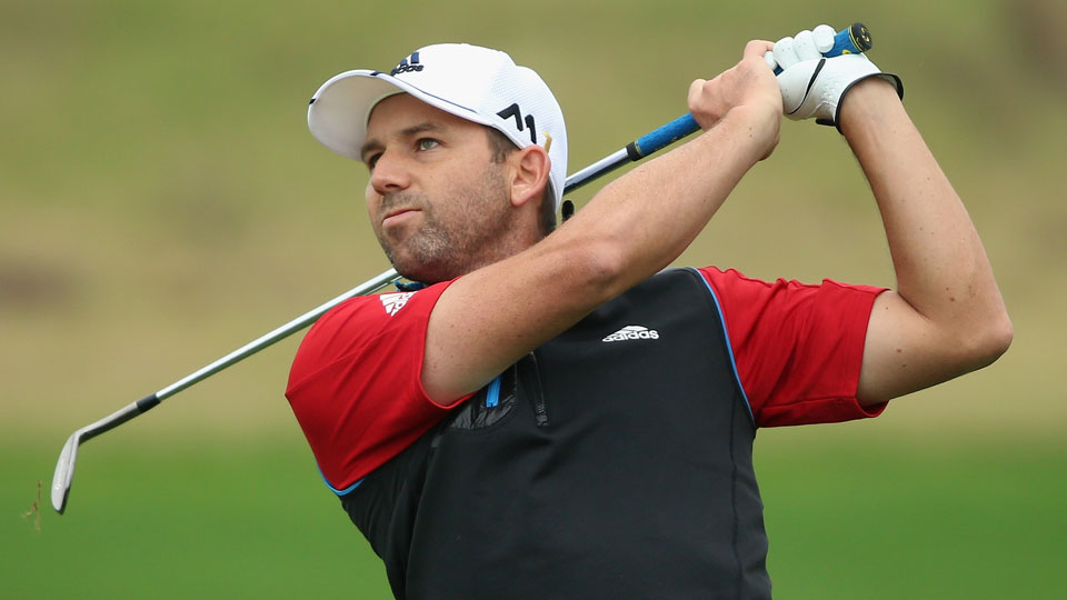 Sergio Garcia plays his second shot on the 10th hole during the first round of the BMW Masters.