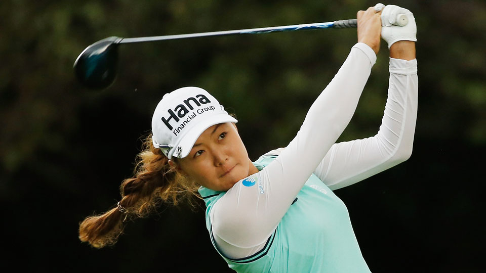 Minjee Lee tees off on the 11th hole during the second round of the Lorena Ochoa Invitational.
