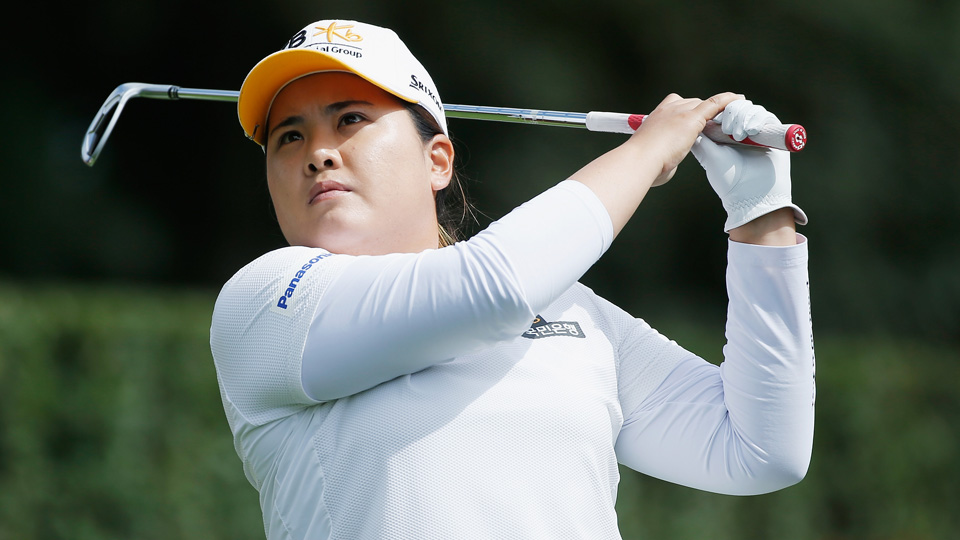 Inbee Park hits her tee shot on the third hole during the final round of the Lorena Ochoa Invitational at the Club de Golf Mexico on Sunday, Nov. 15, 2015, in Mexico City, Mexico.