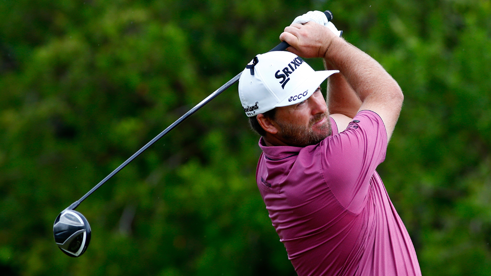 Graeme McDowell of Northern Ireland hits his first shot on the 2nd hole during the final round of the OHL Classic at the Mayakoba El Camaleon Golf Club on Sunday, Nov. 15, 2015, in Playa del Carmen, Mexico.