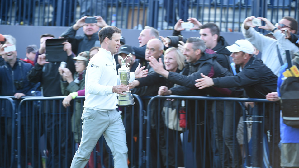 Zach Johnson greets the crowd after winning the 2015 British Open.