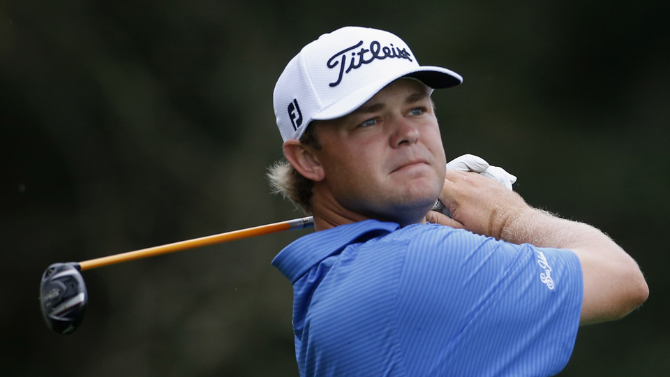 Patton Kizzire tees off on the 2nd hole on the Seaside Course during the first round of The RSM Classic on Thursday, Nov. 19, 2015, in St. Simons Island, Georgia.