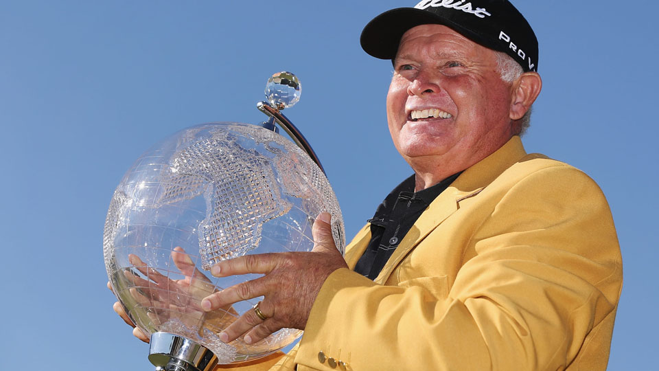 Peter Senior of Australia poses with the trophy after winning during the final round of the 2015 Australian Masters at Huntingdale Golf Club on Sunday, Nov. 22, 2015, in Melbourne, Australia.