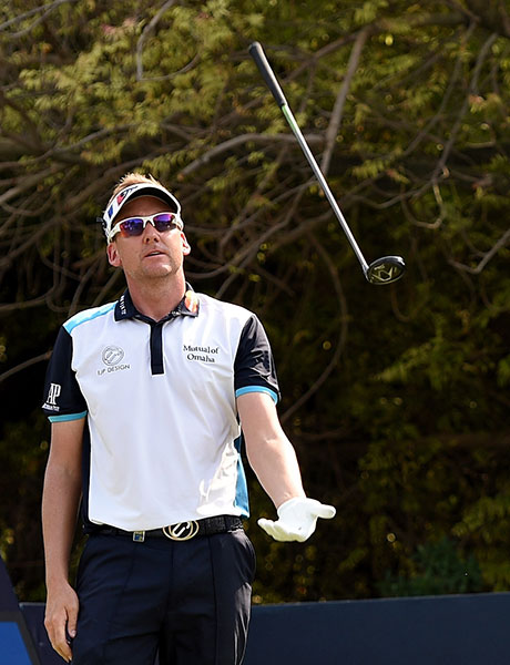 Ian Poulter of England throws his club after missing the green with his tee-shot on the fourth hole during the second round of the DP World Tour Championship on the Earth Course at Jumeirah Golf Estates on November 20, 2015 in Dubai, United Arab Emirates.