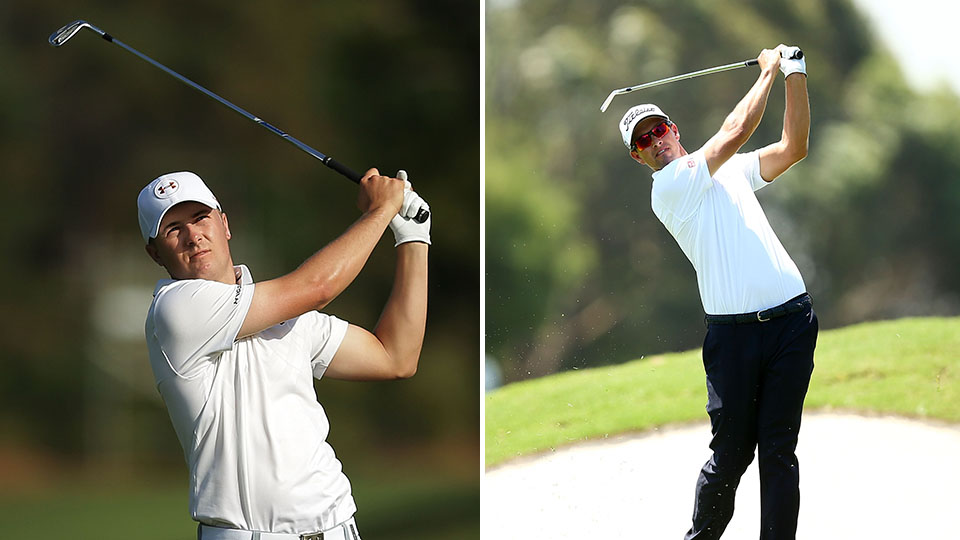 Jordan Spieth and Adam Scott in action on day 1 of the Australian Open.
