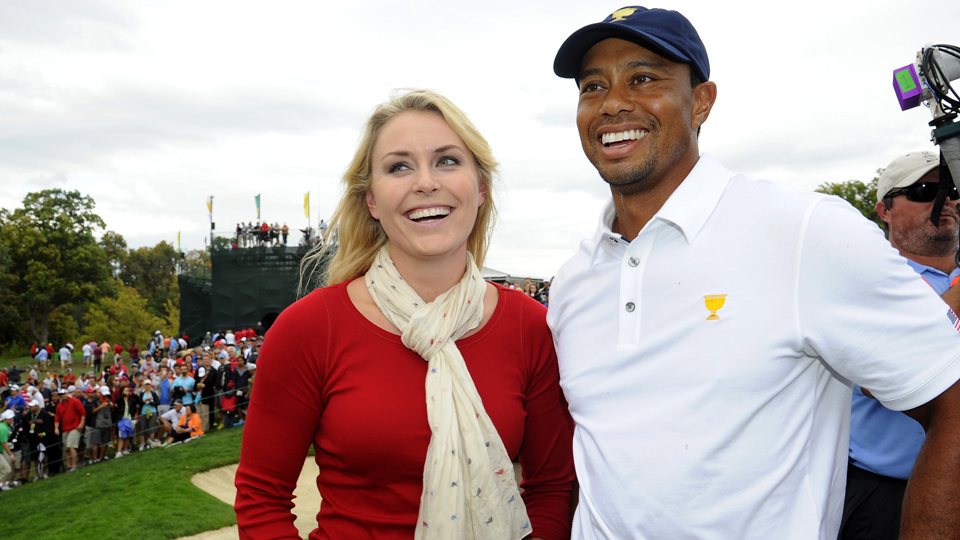 Lindsey Vonn and Tiger Woods together at the 2013 Presidents Cup.