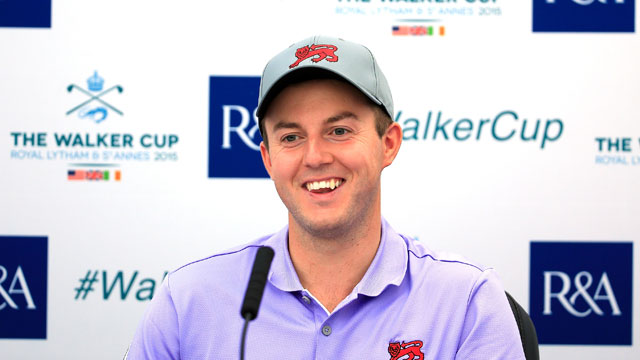 Ashley Chesters of England and the Great Britain and Ireland Team speaks to the media during practice for the 2015 Walker Cup Match at Royal Lytham & St. Annes on September 10, 2015 in Lytham St Annes, England.