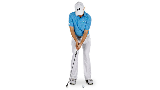 Jordan Spieth uses brisk putterhead speed to produce squarer strikes.