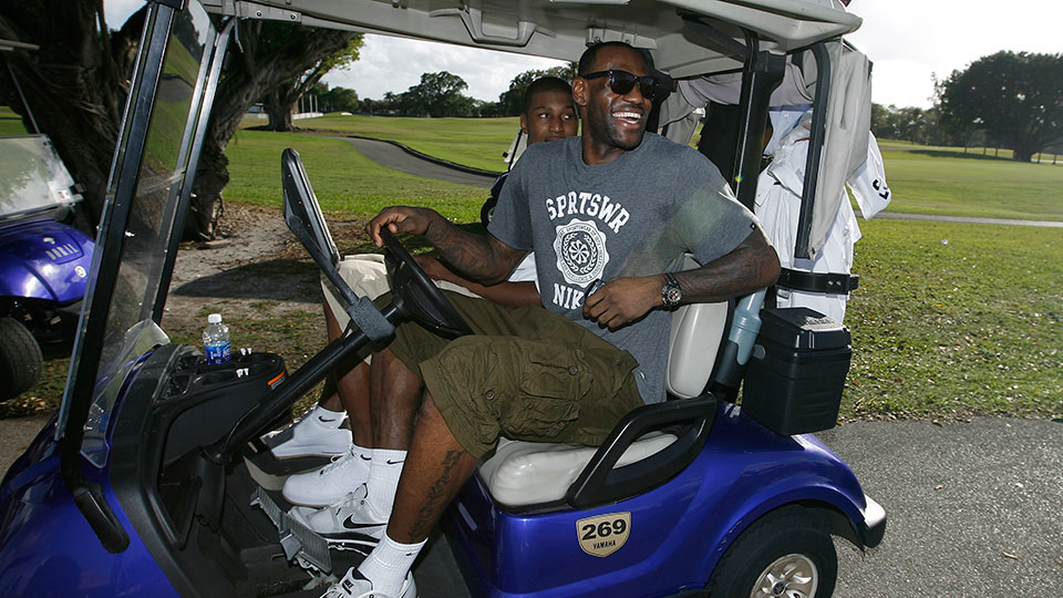 LeBron James participates in the Miami Heat Golf event on February 28, 2011 at Doral Golf in Miami, Florida.