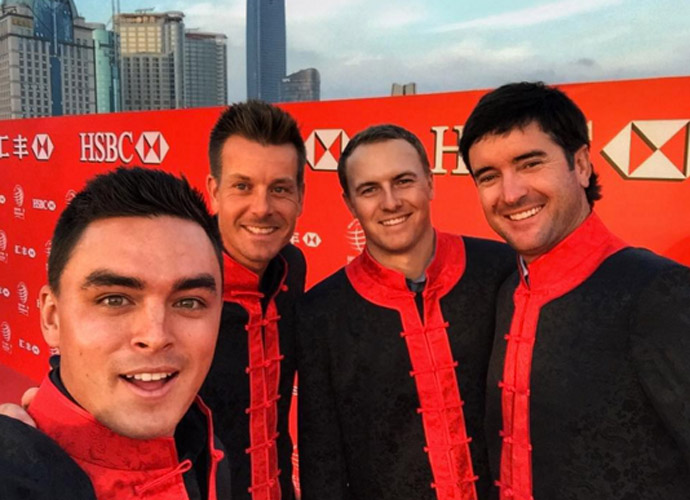 Shanghai with the boys @henrickstenson @jordanspieth @bubbawatson #HSBCchampions #DrumSolo #JacketGameOnPoint