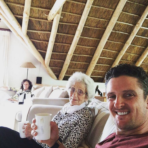 Enjoying my 6th and last cup of tea with Mum and Gran before heading home to see Kate n the kids! #GranAskedWhatAHashtagIs #91stBirthday #fancourt #southafrica