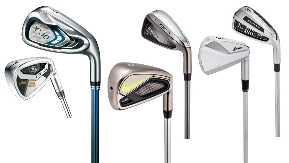 From left: Wilson Staff FG Tour F5 Iron, XXIO 9 Iron, Nike Vapor Fly Iron, Cobra King F6 Iron, Srixon Z 945 Iron, Tour Edge Exotics EXi Iron