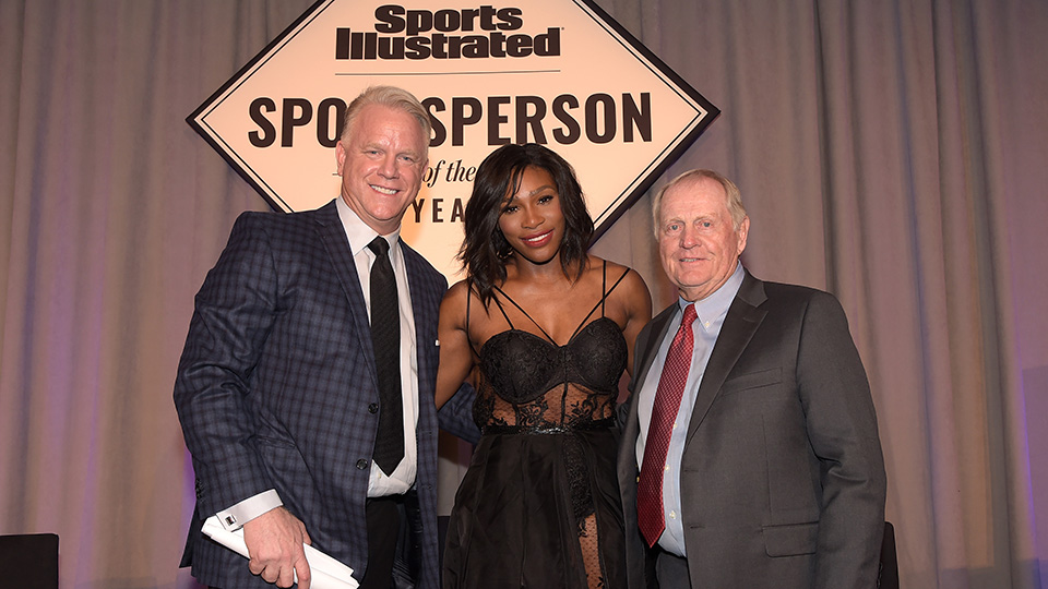 Football legend Boomer Esiason, SI 2015 Sportsperson of the Year Serena Williams and SI Muhammad Ali Legacy Award Recipient Jack Nicklaus.