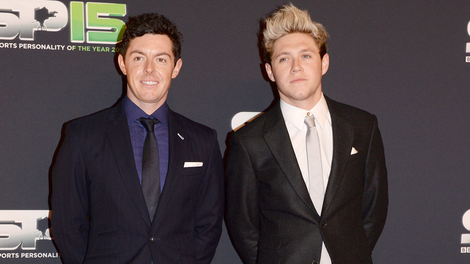 Rory Mcilroy and Niall Horan stand on the red carpet before the BBC Sports Personality of the Year award at Odyssey Arena on Dec. 20, 2015, in Belfast, Northern Ireland.