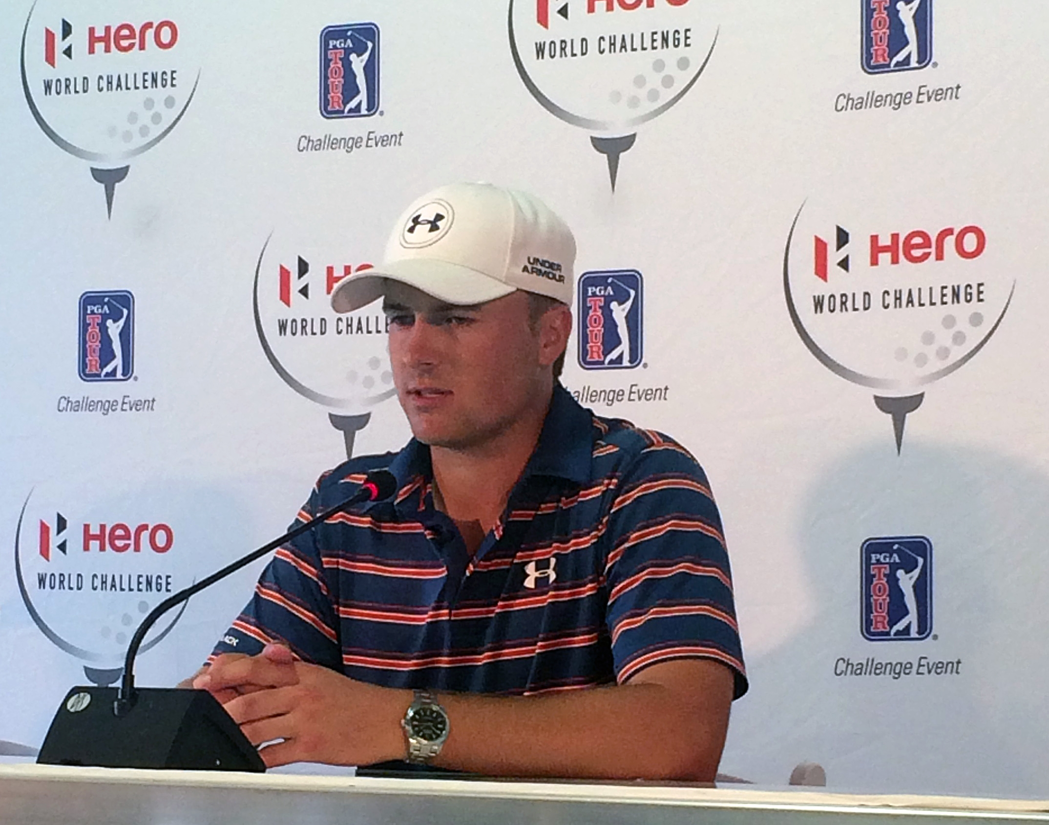 Jordan Spieth speaks during a press conference at the PGA Tour's Hero World Challenge golf tournament in Albany, Bahamas, Wednesday, Dec. 2, 2015. (AP Photo/Doug