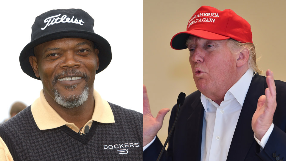 Actor Samuel L. Jackson (left) and Republican presidential candidate Donald Trump.