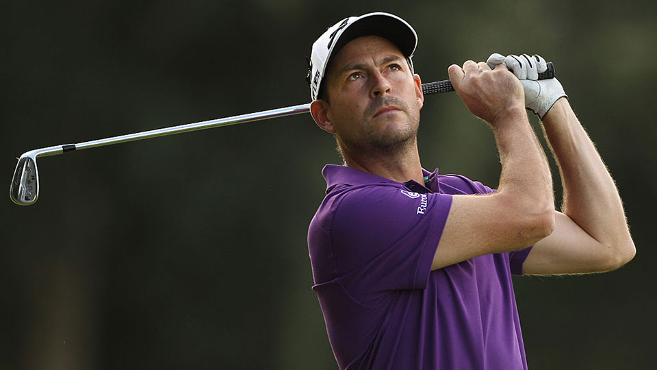 David Howell of England hits his second shot on the 13th hole during the first round of the BMW South African Open Championship at Glendower Golf Club on January 7, 2016 in Johannesburg, South Africa.