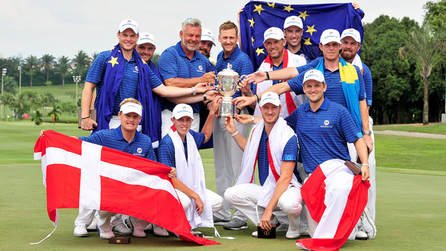 The European team celebrates their Eurasia Cup victory.