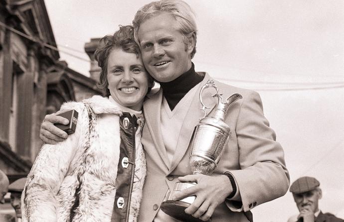 Jack and Barbara Nicklaus at the 1970 British Open at St. Andrews.