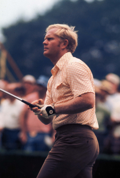 Jack Nicklaus shows his form for the fans at the Thunderbird Classic in June of 1958 in Rye, New York.