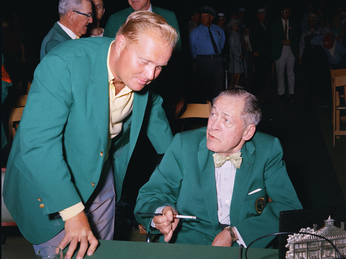 Masters Winner Jack Nicklaus and Bobby Jones at the 1966 Masters.