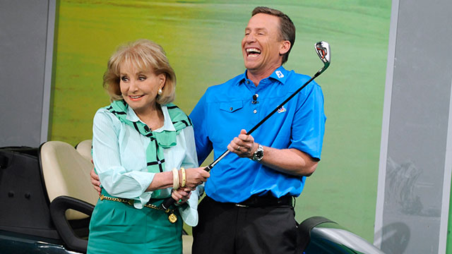 "Barbara Walters learns to golf with the 2012 PGA National Teacher of the Year, Michael Breed when ?The View? debuts a new segment, ""Barbara learns to.."""
