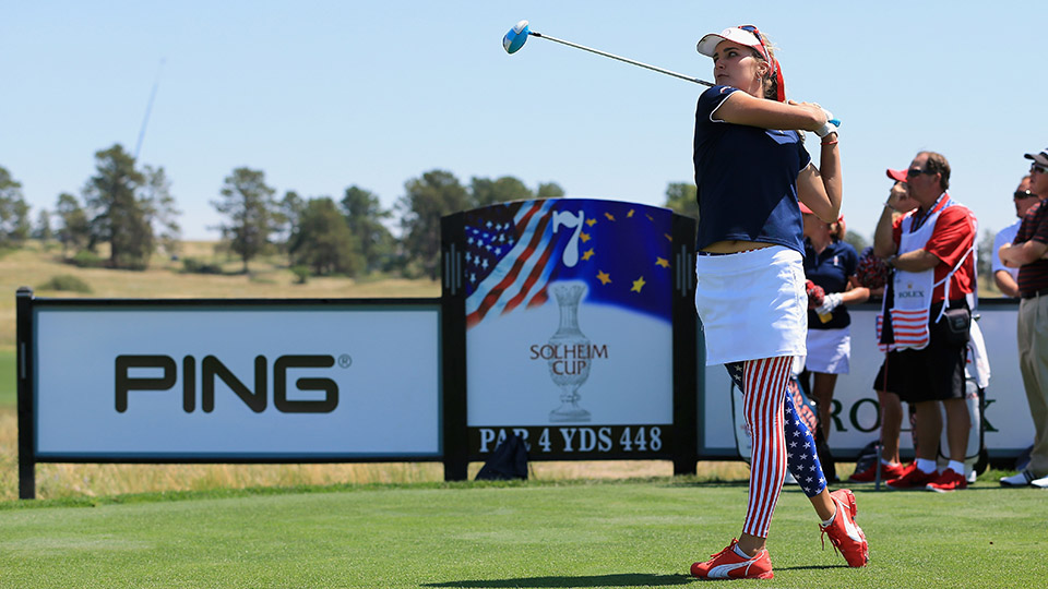 Lexi Thompson of the United States Team hits her tee shot on the seventh hole during a practice round prior to facing the European Team in the 2013 Solheim Cup on August 15, 2013 at the Colorado Golf Club in Parker, Colorado.