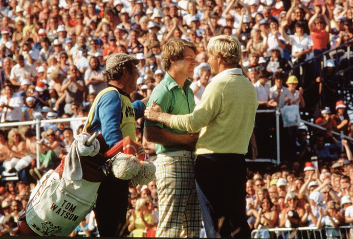Jack Nicklaus congratulates Tom Watson after Watson wins their famous 'Duel in the Sun' at the 1977 British Open at Turnberry.