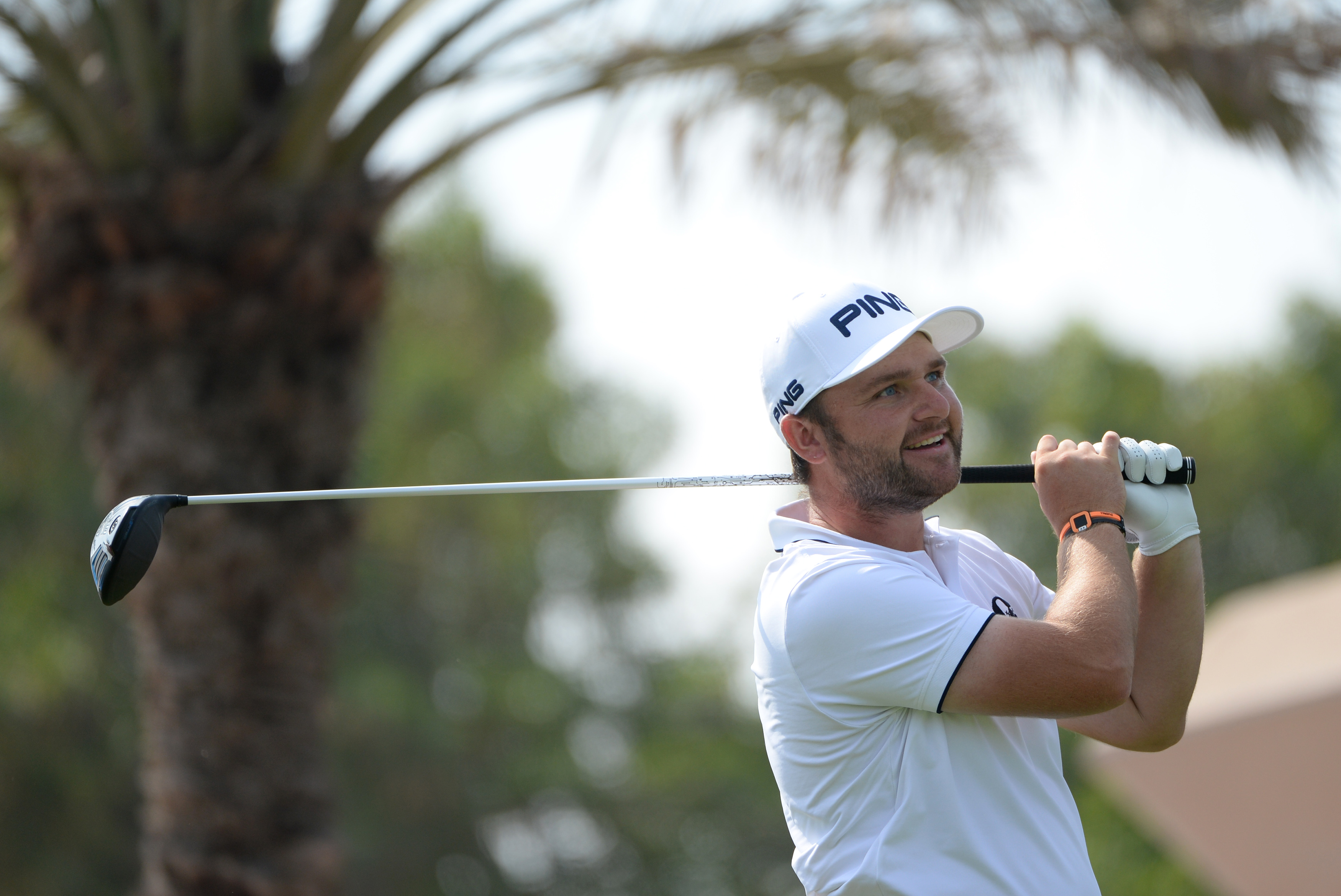 Andy Sullivan tees off on the 18th hole during the second round of the Abu Dhabi HSBC Golf Championship.