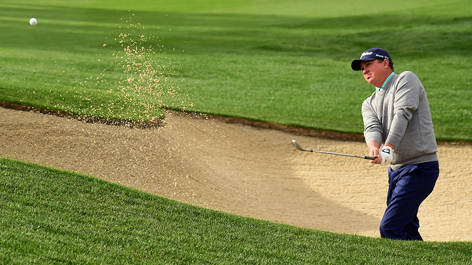 Jason Dufner plays a shot from the bunker on the 10th hole during the third round of the 2016 CareerBuilder Challenge In Partnership With The Clinton Foundation.
