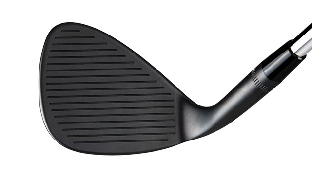 A view of the face of the Callaway Mack Daddy PM-Grind Matte Black wedge.