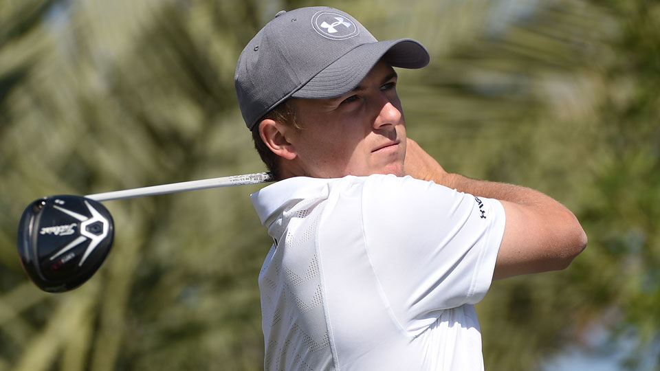 Jordan Spieth tees off on the second hole during the final round of the Abu Dhabi HSBC Championship.