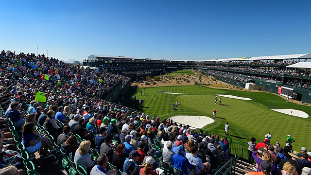 The 16th hole at the Stadium Course at TPC Scottsdale during the 2015 Waste Management Phoenix Open.