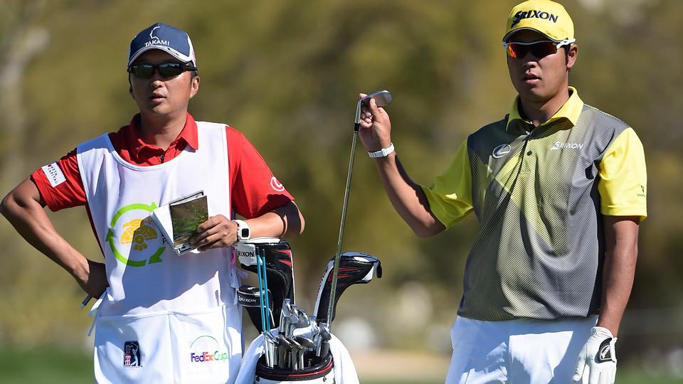 Hideki Matsuyama with his Cleveland/Srixon golf clubs during the 2016 Waste Management Phoenix Open.