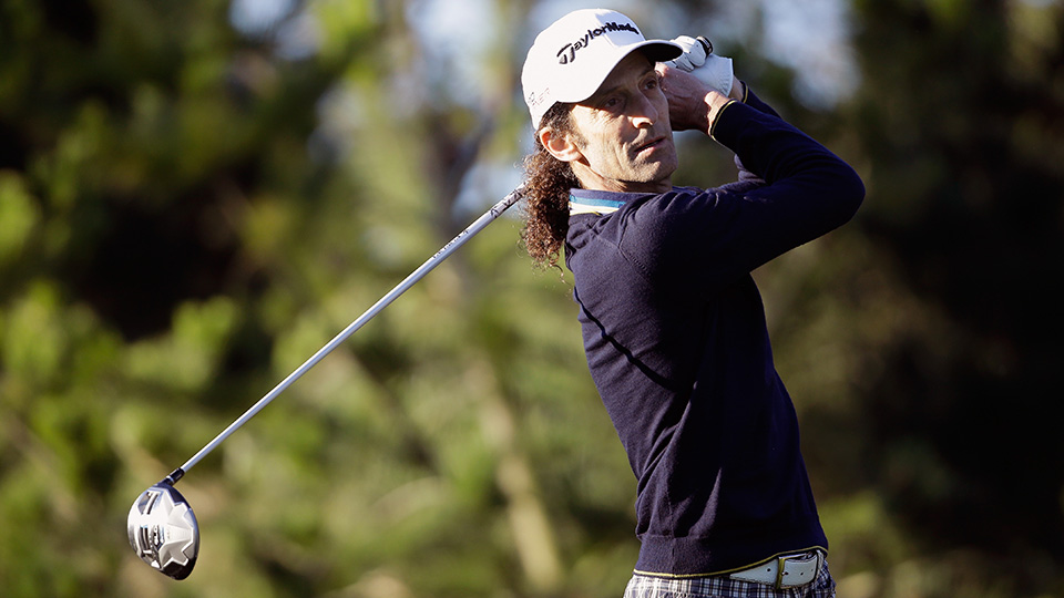 Musician Kenny G. in action during the second round of the AT&T Pebble Beach National Pro-Am at the Spyglass Hill Golf Course on February 13, 2015 in Pebble Beach, California.