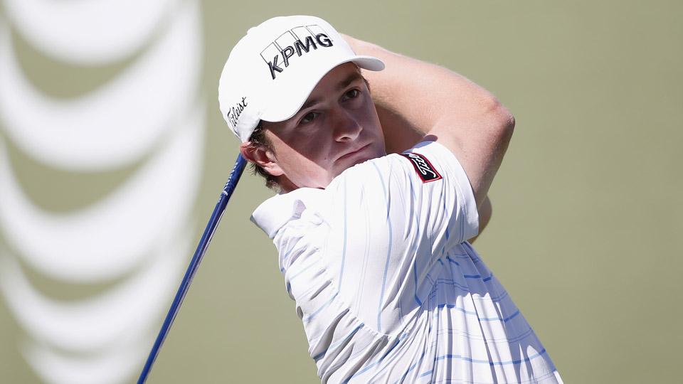Paul Dunne of Ireland tees off on the 4th hole during practice for the AT&T Pebble Beach National Pro-Am at Pebble Beach Golf Links on February 10, 2016 in Pebble Beach, California.