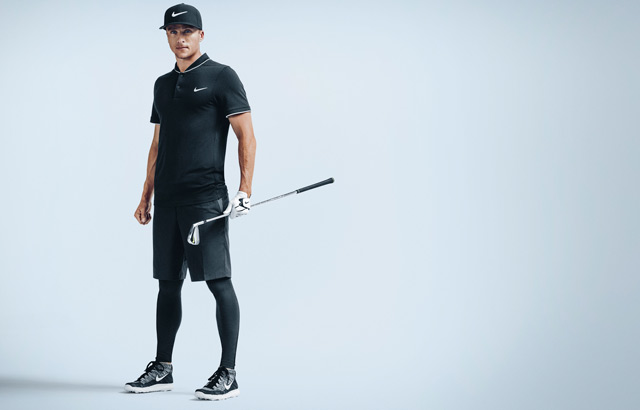 Scott Pinckney shows off the Nike Hyperwarm golf tights.