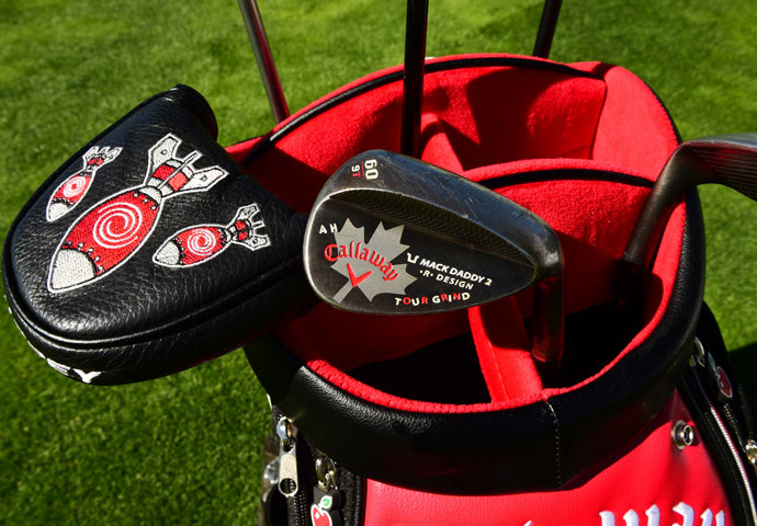 Adam Hadwin's Callaway wedge is complete with a custom Canadian Maple Leaf.