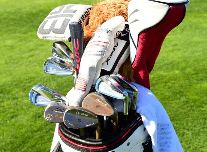 Srixon forged Z 745 irons and Cleveland wedges fill up Keegan Bradley's bag.
