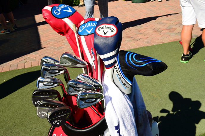 Callaway player Marc Leishman carries a combination of Apex Pro irons, MD3 wedges, and XR woods. He's also playing an Odyssey Works putter.