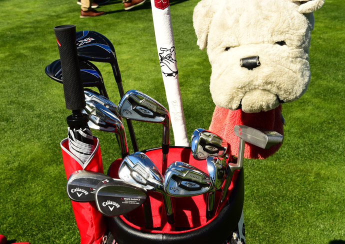 Scott Brown is a fan of bulldogs, Callaway forged Apex Pro irons, XR woods, Mack Daddy 2 wedges, and Odyssey putters.
