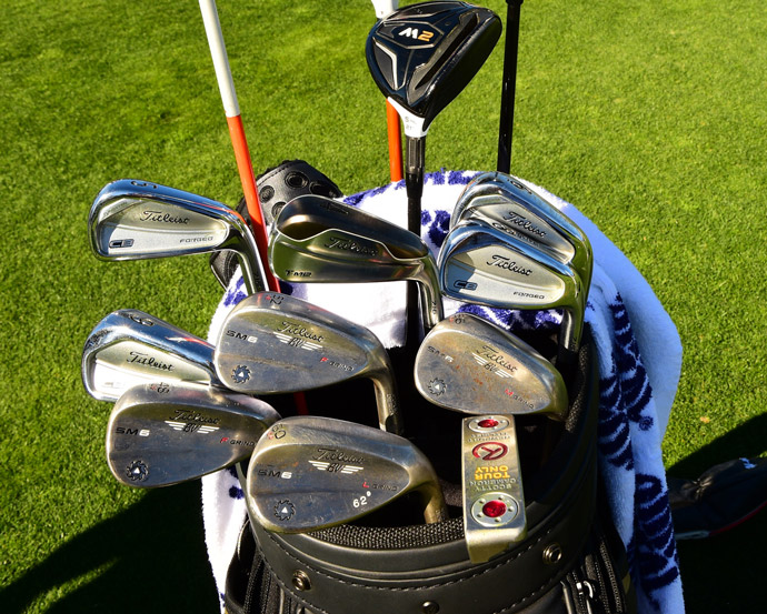 Past Open Champion Stewart Cink carries a mixture of TaylorMade M1 and M2 woods and Titleist irons, wedges, and a Scotty Cameron putter.