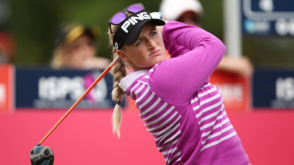 Holly Clyburn of England competes during day two of the ISPS Handa Women's Australian Open at The Grange GC on February 19, 2016 in Adelaide, Australia.