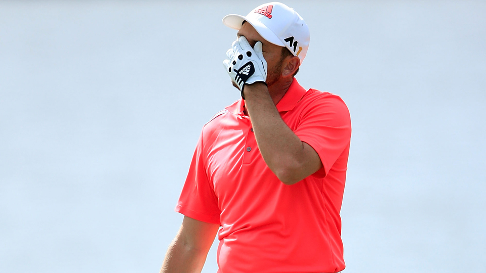 Sergio Garcia reacts to his second shot on the sixth hole during the final round of the Honda Classic at PGA National on Feb. 28, 2016, in Palm Beach Gardens, Florida.