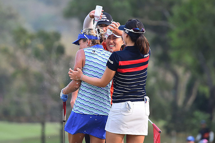 Lexi Thompson of the United States celebrates after winning the 2016 Honda LPGA Thailand at Siam Country Club on February 28, 2016 in Chon Buri, Thailand.