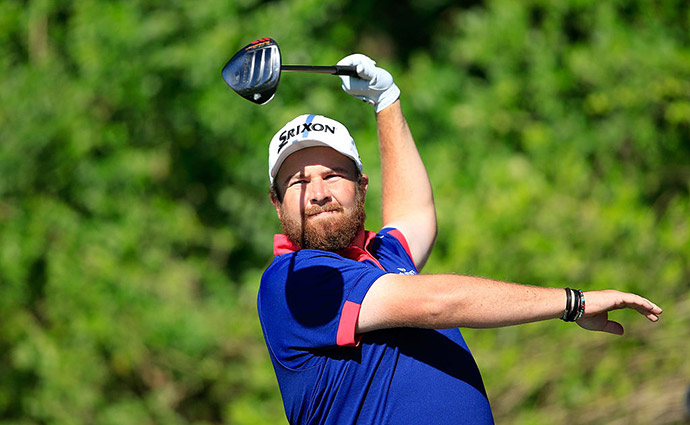 Shane Lowry of Ireland plays his tee shot on the par 5, third hole during the third round of the 2016 Honda Classic held on the PGA National Course at the PGA National Resort and Spa on February 27, 2016